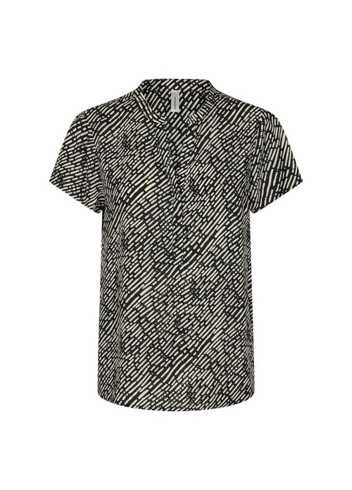 Soyaconcept Okimi Short Sleeve Womens Black Print Top With V Neck