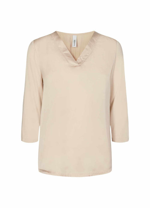 Soyaconcept Sanela Womens beige long sleeve Top With V-Neck