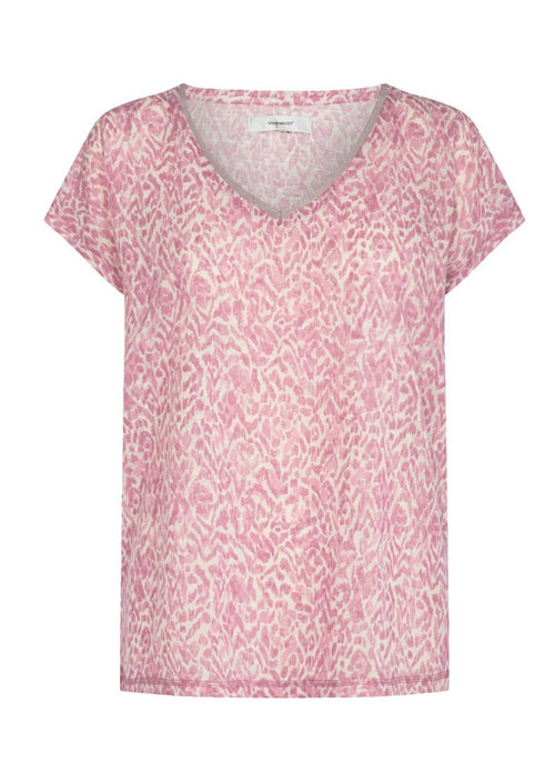 Soyaconcept-Aretha-19-Womens-Short-Sleeve-V-Neck-Top-In-Pink-Ribbon-Rouge-Ireland