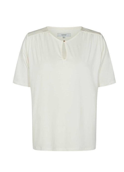 Soyaconcept-Marica-Keyhole-Womens-Cream-Off-white-Short-Sleeve-Top-25127-Ribbon-Rouge-Ireland