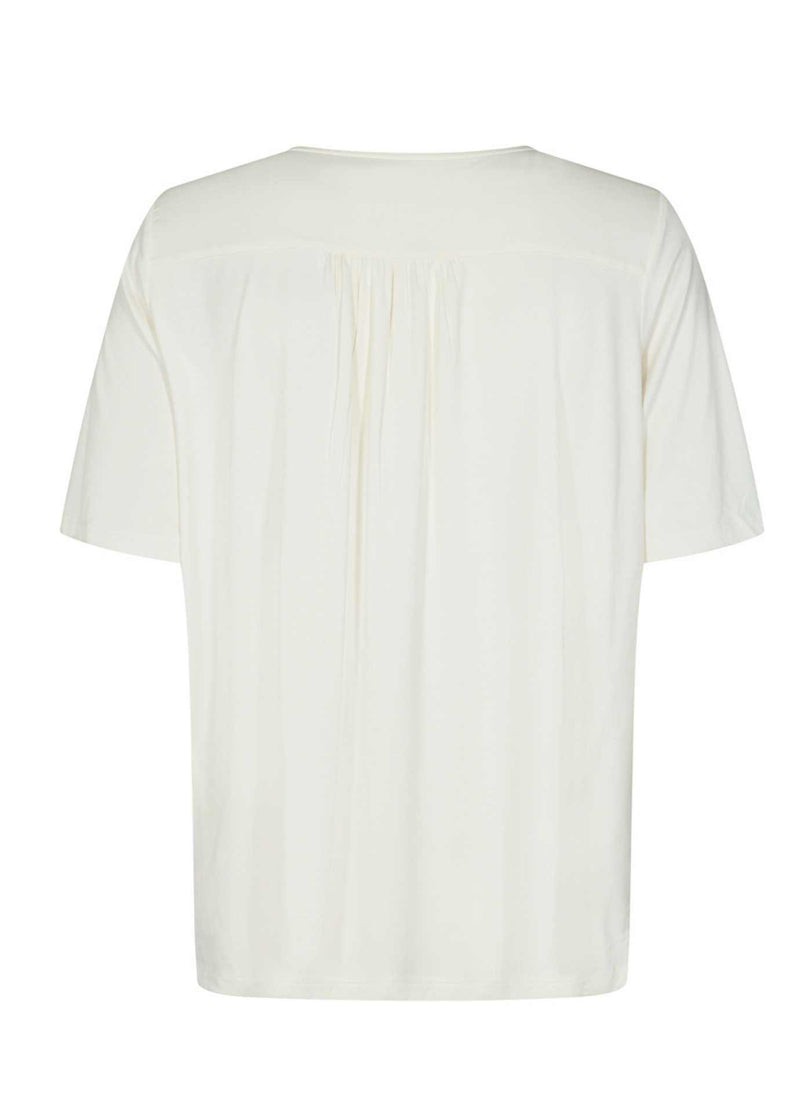 Soyaconcept-Marica-Keyhole-Womens-Cream-Off-white-Short-Sleeve-Top-From-Back-25127-Ribbon-Rouge-Ireland