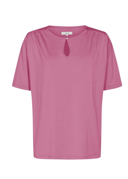 Soyaconcept-Marica-Keyhole-Womens-Short-Sleeve-Top-In-Pink-25127-Ribbon-Rouge-Ireland