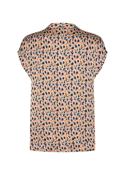 Soya Concept Coral Colour Short Sleeve Womens Top With V Neckline From Back