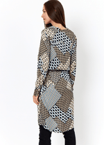 Soyaconcept Nola Blue/Beige Ladies Geometric Print Dress At The Back Ribbon Rouge