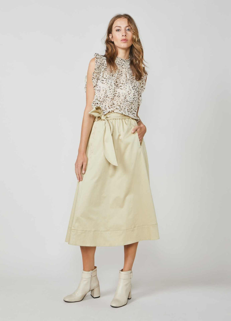 Summum-Woman-6S1197-11381-Beige-A-line-Midi-Length-Skirt-With-Pockets