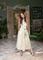Summum Woman 6S1197-11381 Beige-Long Belted Summer Skirt With Pockets