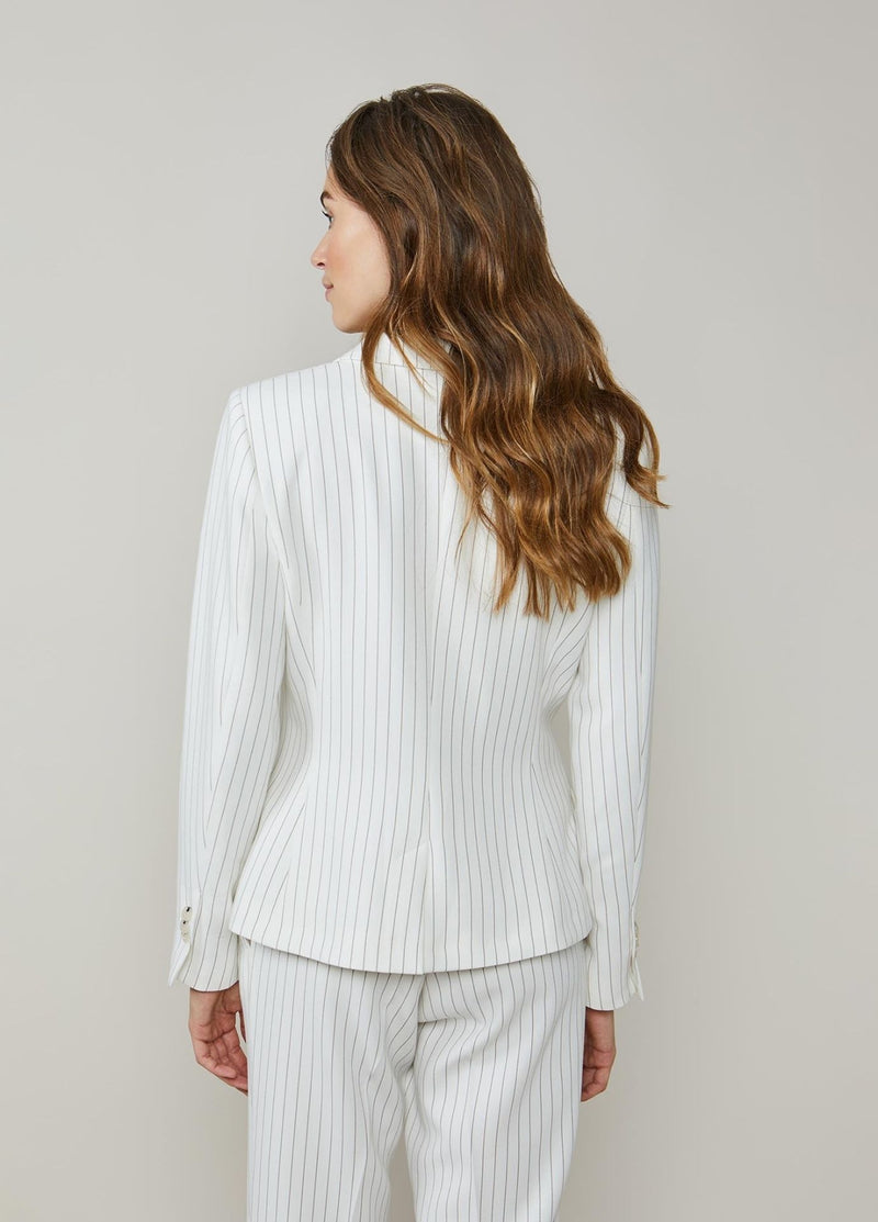 Summum-Woman-Fitted-Ivory-Pinstripe-Blazer-From-The-Back--1S1026-Ribbon-Rouge
