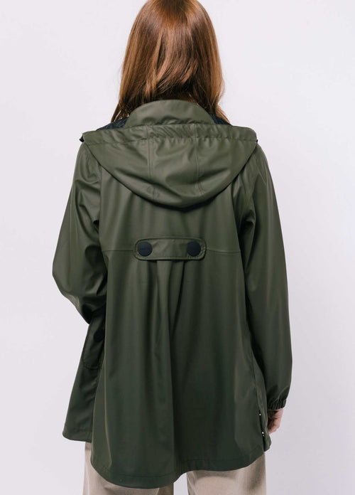Tanta-Rainwear-Baisteach-Khaki-Green-Waterproof-Womens-Summer-Raincoat-From-Back
