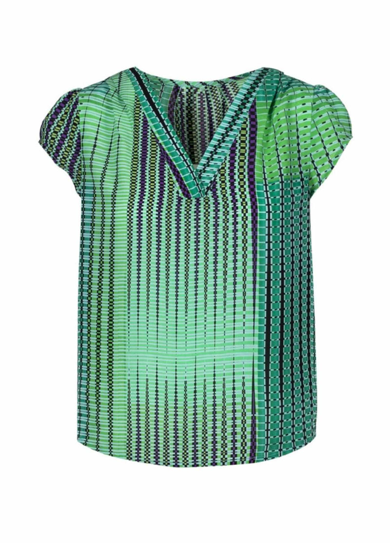 anonyme A111st054 argyle flapper emerald green and purple print womens short sleeve Vneck dressy top