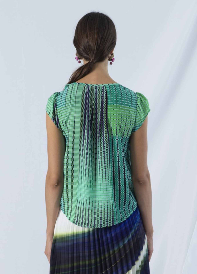 anonyme argyle emerald green and purple womens short sleeve dressy top from back