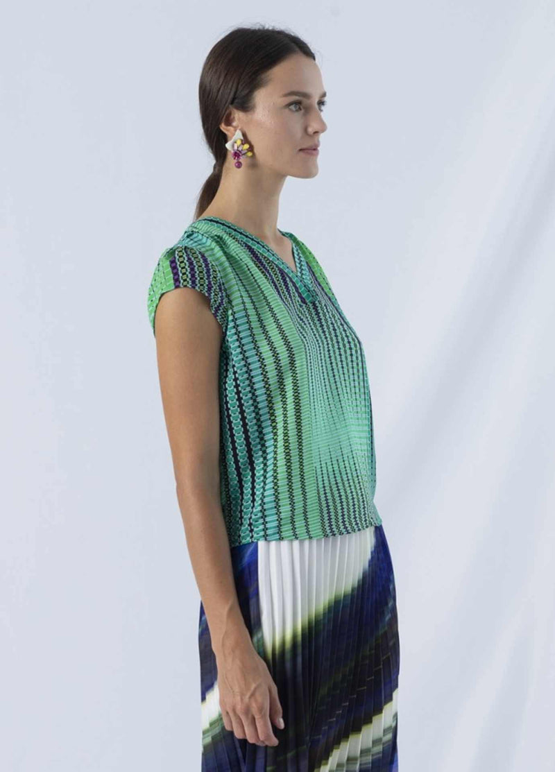 anonyme argyle flapper emerald green print womens short sleeve dressy top from side