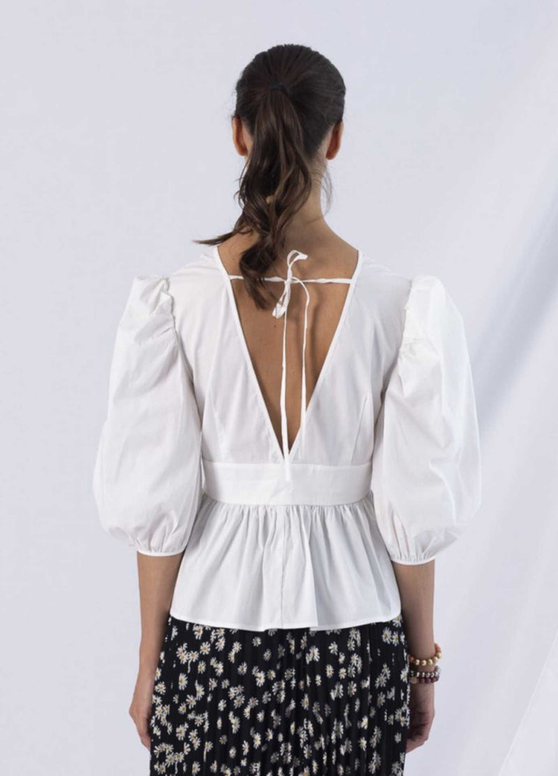 anonyme designers p121st125 adriana white balloon sleeve v neckline fitted womens top from back