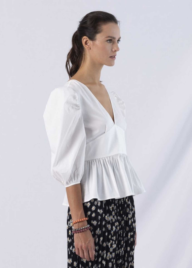 anonyme adriana white v neckfitted womens summer top with half balloon sleeves