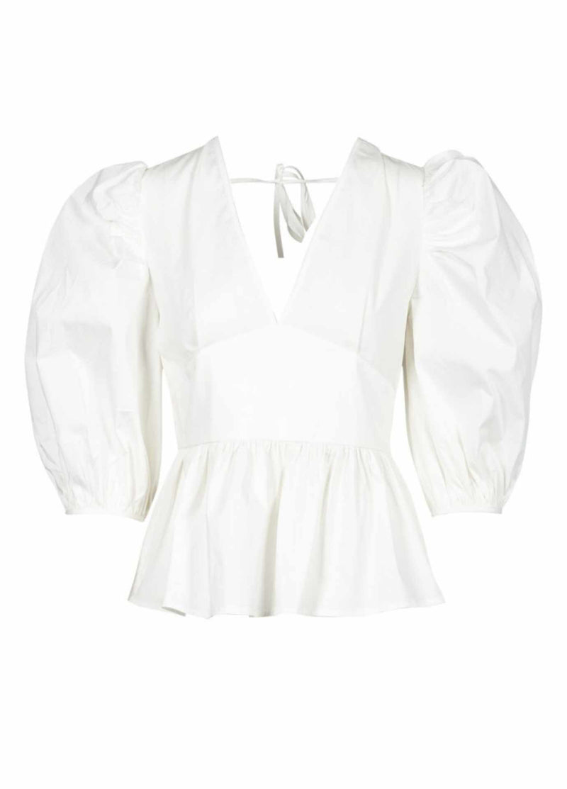 anonyme p121st125 adriana fitted white womens v neck puff sleeve top