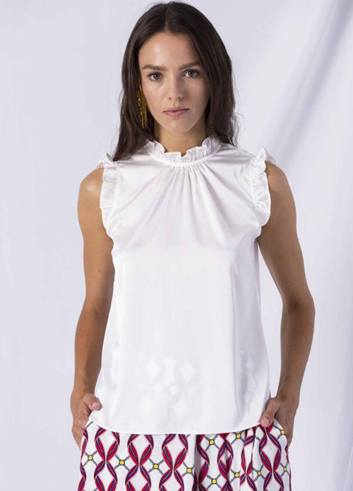 anonyme p131st137 adelaide timea white ruffled high neck silky womens going out top