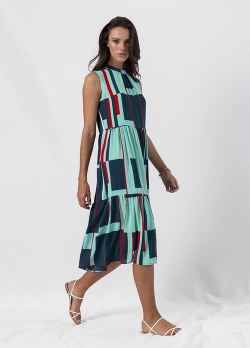 anonyme window pane green womens summer midi dress for an occasion