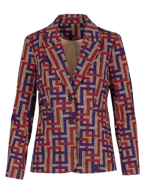 Anonyme Purple/Red Labyrinth Print Blazer - Ribbon Rouge Boutiques