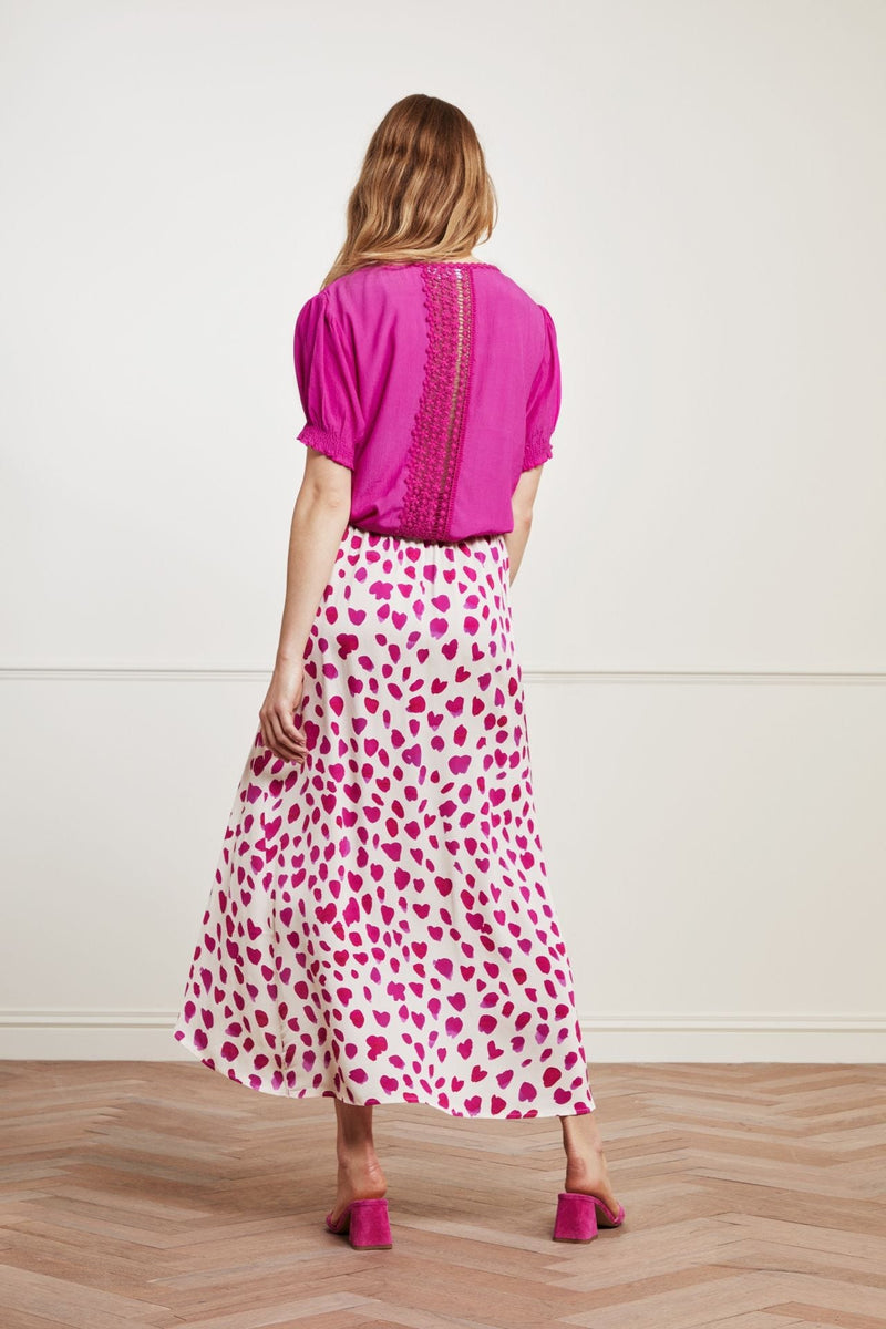 fabienne chapot cora womens long wrap printed pink skirt  from back