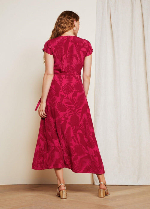 Fabienne Chapot Archana Pink Parrot Red Floral Print Womens Midi Dress
