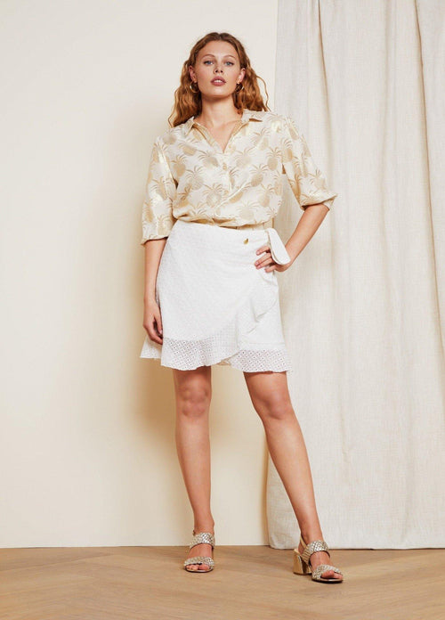 Fabienne Chapot Off-White Kea Ladies Short Wrap Style Broderie Anglaise Skirt