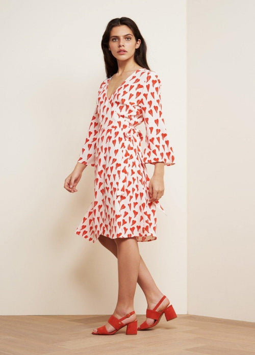 Fabienne Chapot Winni V-Neck Flute Sleeve Wrap Style Womens Heart Print Dress