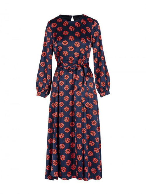 Anonyme Crew Neck Blue & Red Daisy Print Dress - Ribbon Rouge Boutiques