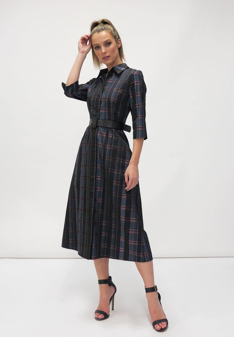FeeG Navy & Pink Check Print 3/4 Sleeve A-Line Shirt Dress With Black Belt