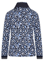 hv polo 0401103338 abril navy leo zip up womens spot print cardigan from back