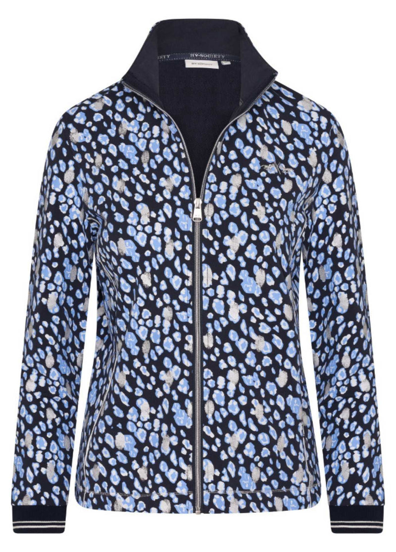hv polo 0401103338 abril navy leo zip up womens cardigan in a spot print