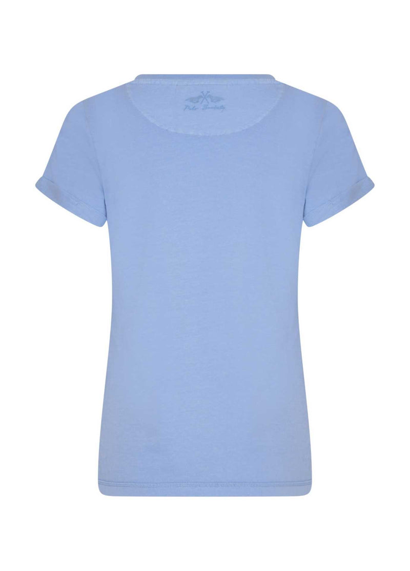 hv polo latoya lavender blue short sleeve tshirt from back