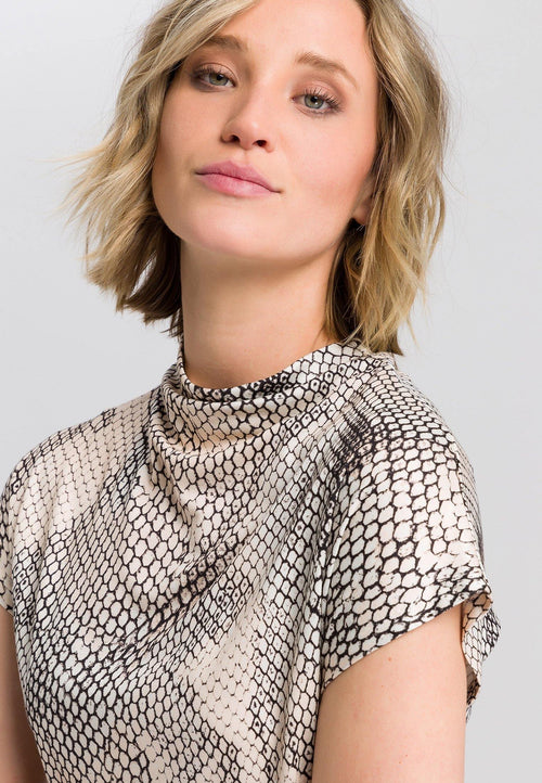 Marc Aurel Snake Print Turtleneck Top