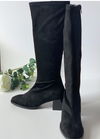 Ribbon Rouge Black Block Heel Knee Length Suede Boots - Ribbon Rouge Boutiques