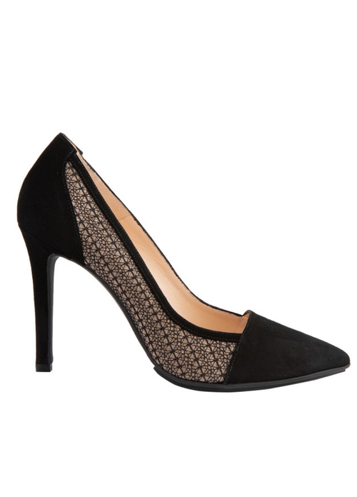Lodi Vedarogote Black Lace Court Shoe - Ribbon Rouge Boutiques