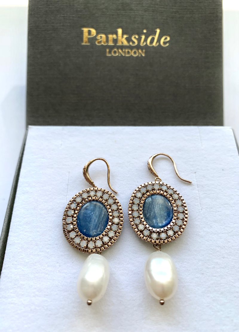 Handmade Pearl Drop Lapis Earrings