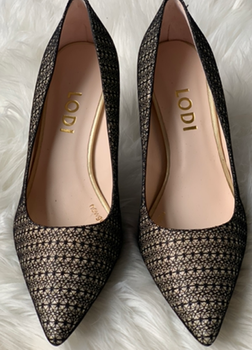 Lodi Rachaeltetp Gold & Black Pattern Court Shoe - Ribbon Rouge Boutiques