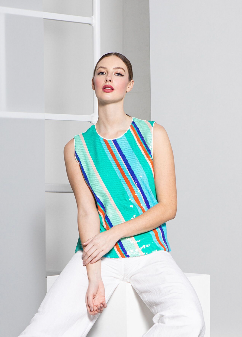 Caroline Kilkenny Andres Striped Turquoise Green  Sequin Top