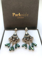 Handmade fan shape earrings green - Ribbon Rouge Boutiques