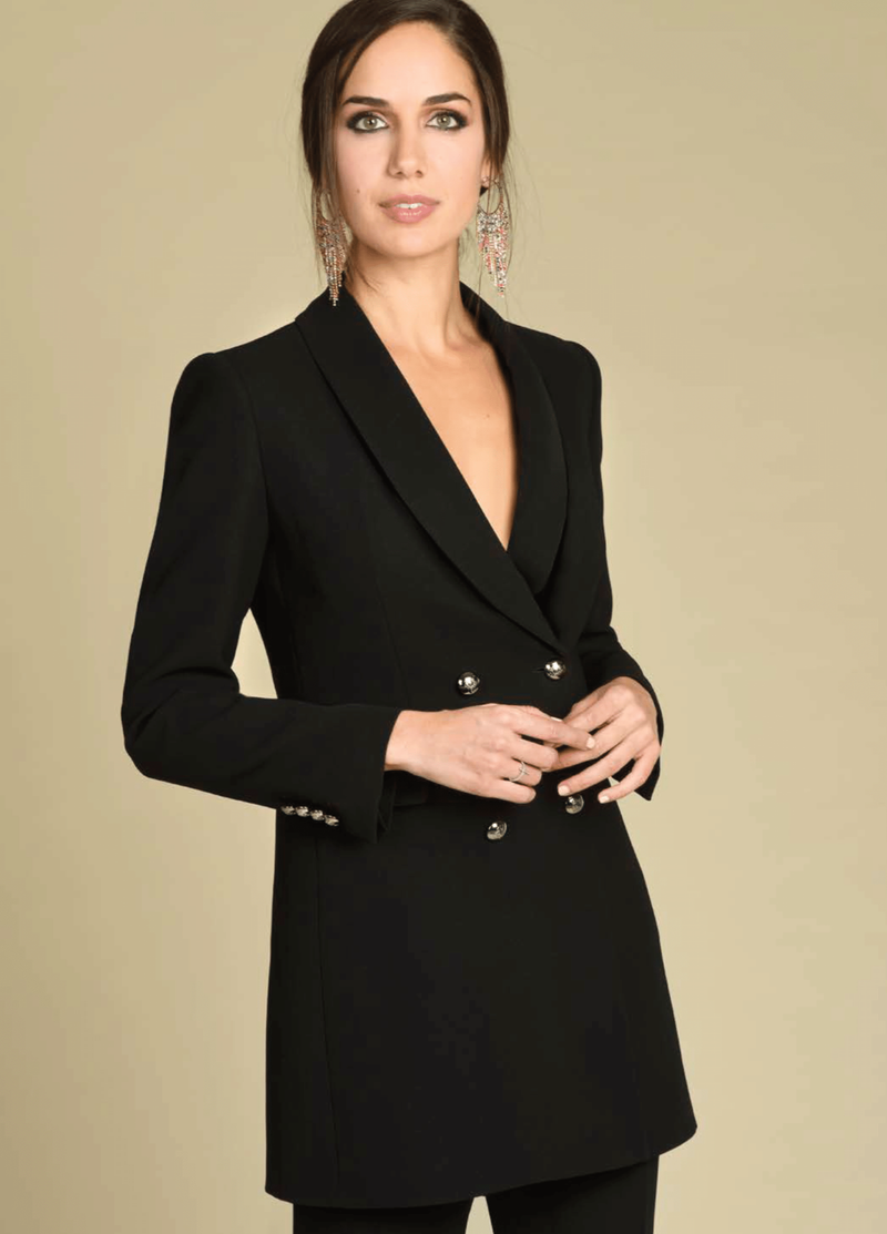 Bariloche Bogota Black Double Breasted Blazer Jacket - Ribbon Rouge Boutiques