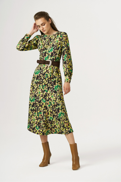 Exquise Autumn Floral Print Belted Dress - Ribbon Rouge Boutiques