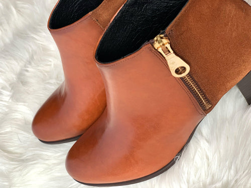 Ribbon Rouge Poncho Velur Tan Zip Ankle Boot - Ribbon Rouge Boutiques