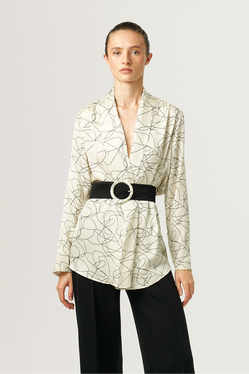 Exquise Cream Fine Print Blouse With Belt - Ribbon Rouge Boutiques