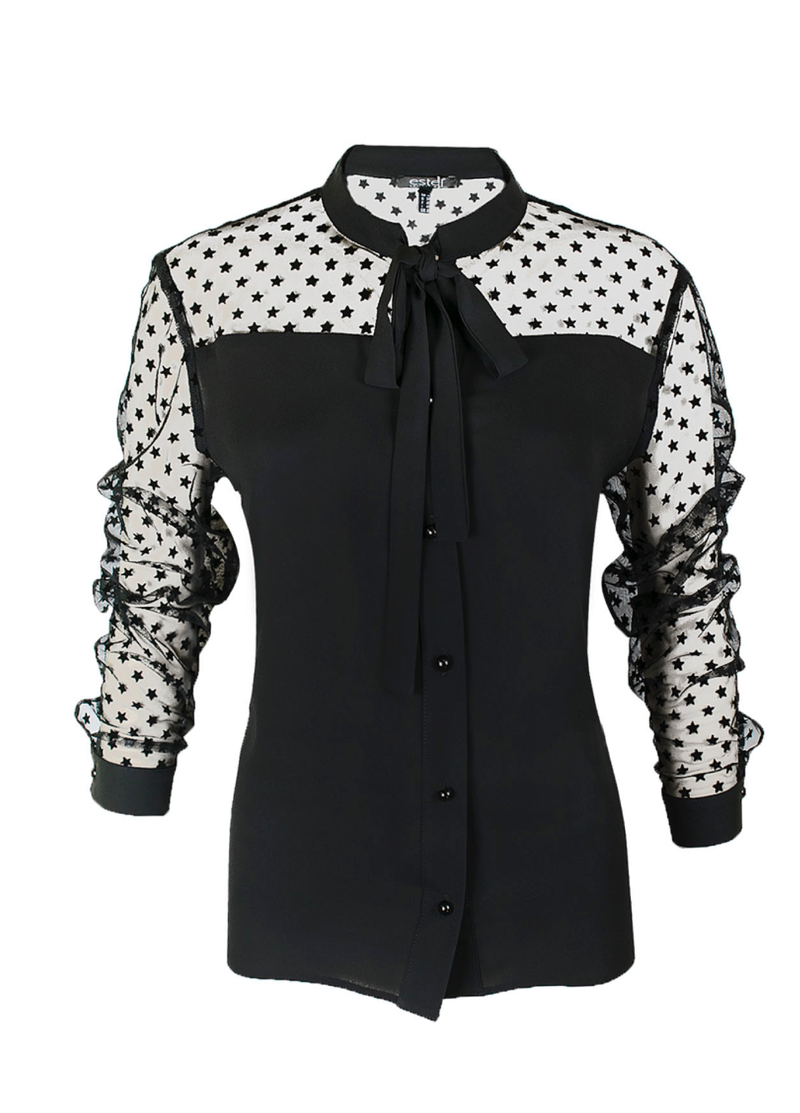 Estel Black Star Bow Blouse