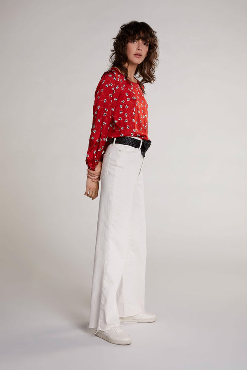 Oui Red Silky Floral Print Top