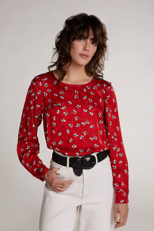 Oui Red Silky Floral Print Top - Ribbon Rouge Boutiques