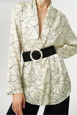 Exquise Cream Fine Print Blouse With Belt