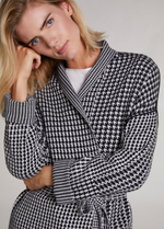 Oui Check Print Wrap-Style Belted Cardigan