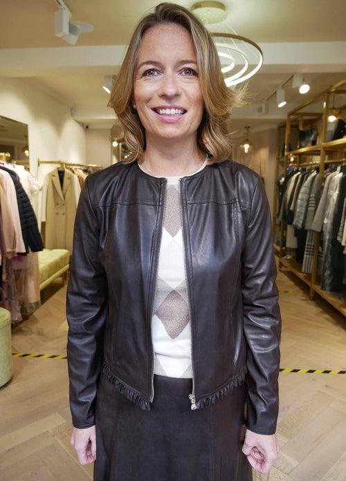 Emme Abro Brown Faux Leather Jacket - Ribbon Rouge Boutiques