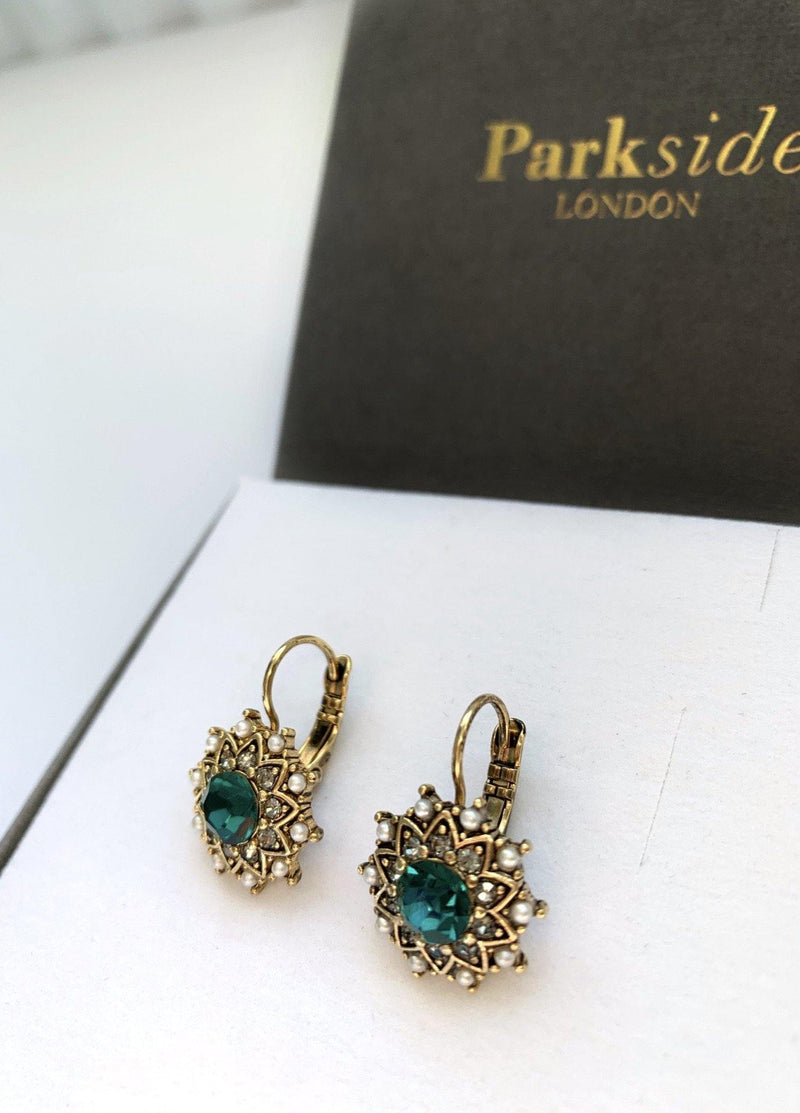 Parkside London Antique Hoop Earring Emerald Green - Ribbon Rouge Boutiques