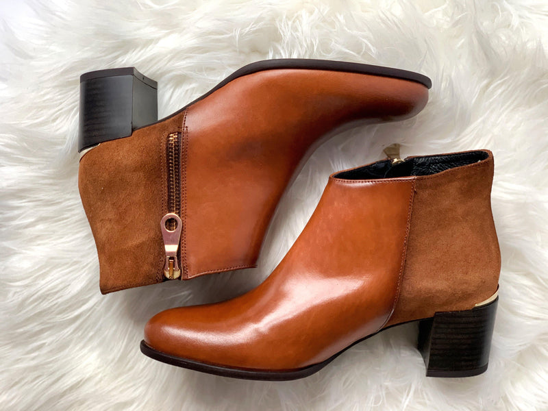 Ribbon Rouge Poncho Velur Tan Zip Ankle Boot