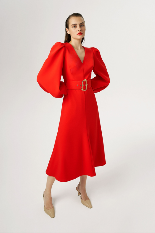 Exquise Balloon Sleeve Fire Belted Midi Dress - Ribbon Rouge Boutiques
